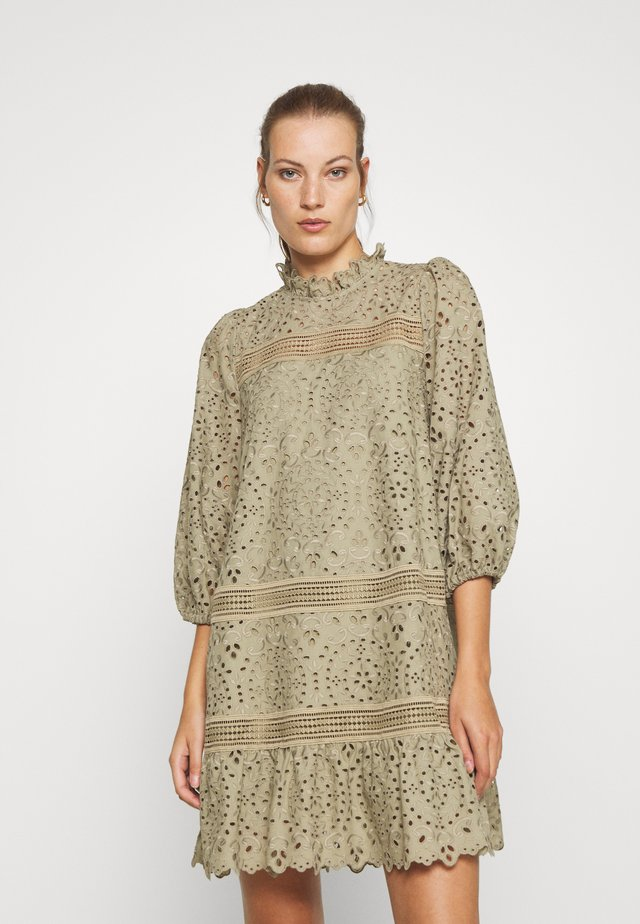 DRESS PUFFY SLEEVES MINI - Denní šaty - frosty sage