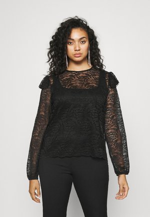 SCALLOP HEM - Long sleeved top - black