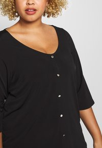 Dorothy Perkins Curve - BUTTON THROUGH ITY - Long sleeved top - black - 5