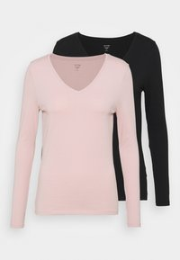 Marks & Spencer London - 2 PACK - Topper langermet - black/light pink - 6