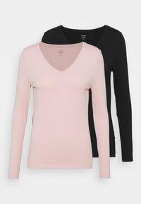 2 PACK - Top sdlouhým rukávem - black/light pink