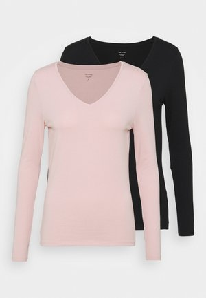 2 PACK - Long sleeved top - black/light pink