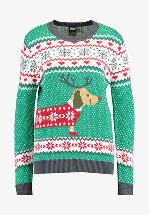 SAUSAGE DOG CHRISTMAS - Strickpullover - teagreen/white/red/darkgrey