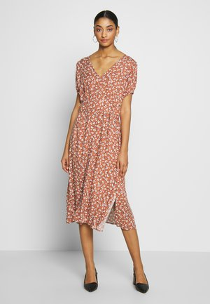 WOVEN PUFF SLEEVE MIDI DRESS - Denní šaty - dusty brown