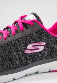 Skechers Wide Fit - FLEX APPEAL 3.0 - Trainers - black/charcoal/hot pink - 2