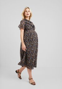 Hope & Ivy Maternity - FLUTER SLEEVE SKATER WITH V - Cocktail dress / Party dress - multi-coloured - 1