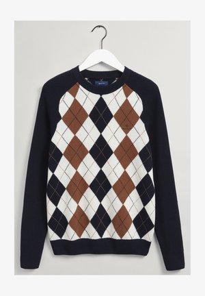 ARGYLE CREW NECK - Stickad tröja - marine