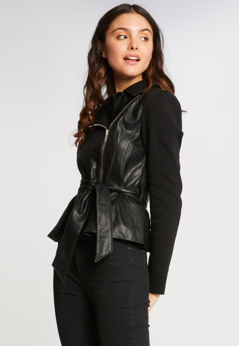 Morgan - Faux leather jacket - black