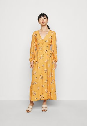 TRUE PLUNGE FRONT MIDI WITH BUTTON DETAIL - Vestido camisero - yellow
