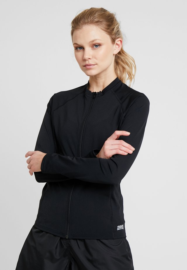 SUN LONG SLEEVED FULL ZIP - Noční košile - black