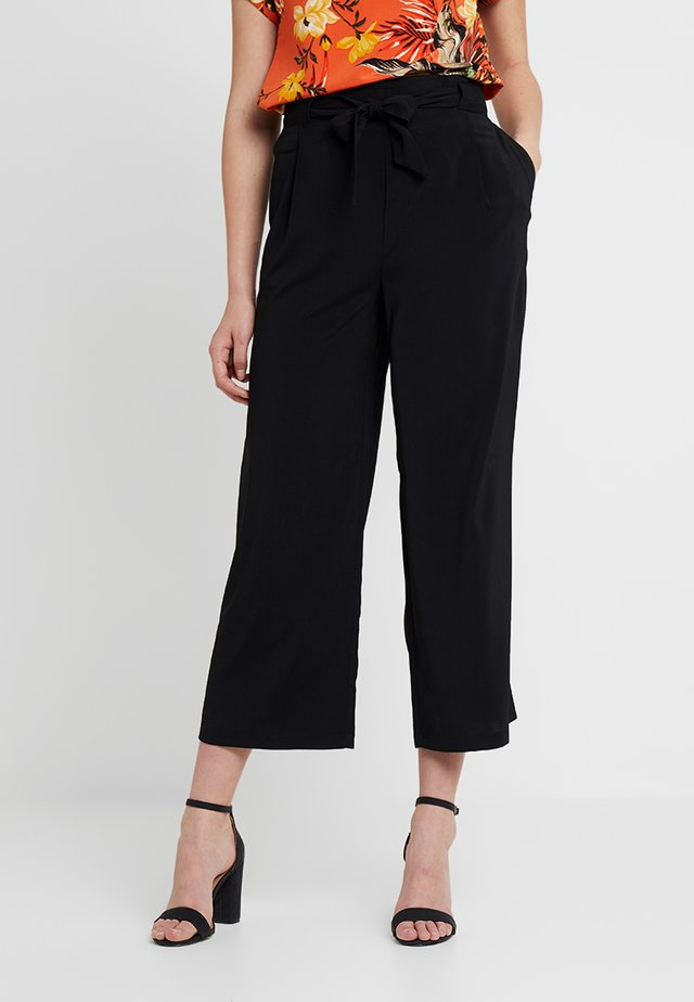EMERALD TIE WAIST - Spodnie materiałowe - black