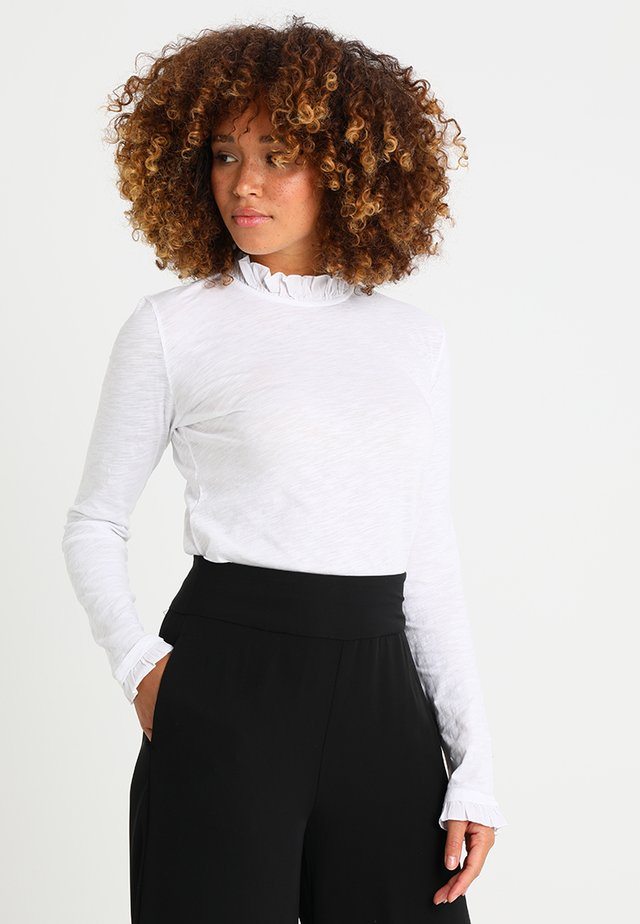 SLUB FRILL - Long sleeved top - white