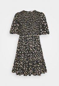 SMOCKING PUFFED MINI DRESS - Day dress - black