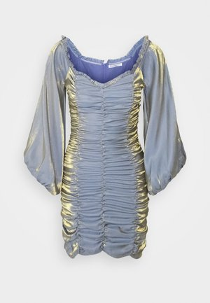 LADIES DRESS METALLIC - Vestido de cóctel - blue/gold