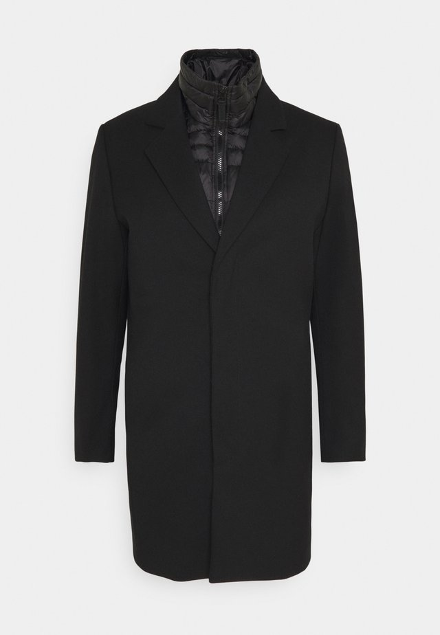COAT WITH HIDDEN PRESS BUTTONS AND PUDDED DETACHABLE JACKET 2-IN-1 - Mantel - black