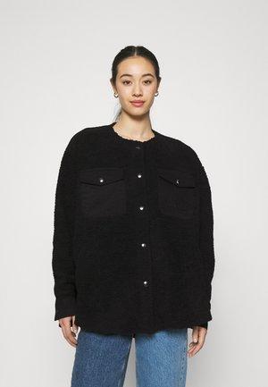 CHECKET PILE JACKET - Winter coat - black