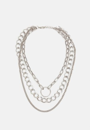 RING LAYERING NECKLACE UNISEX - Necklace - silver-coloured