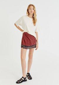 PULL&BEAR - Wrap skirt - mottled light red - 1