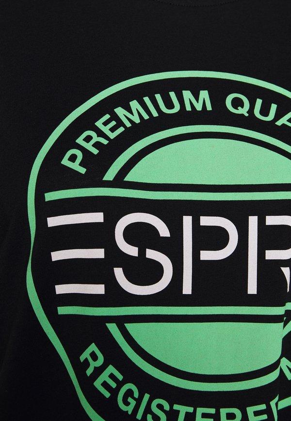 Esprit T-shirt z nadrukiem - black/czarny Odzież Męska UMRJ