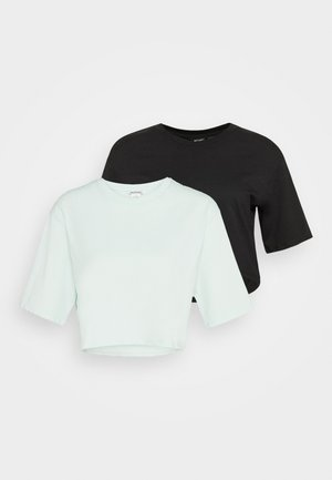 ELINA TOP 2 PACK - Jednoduché triko - green dusty light/white