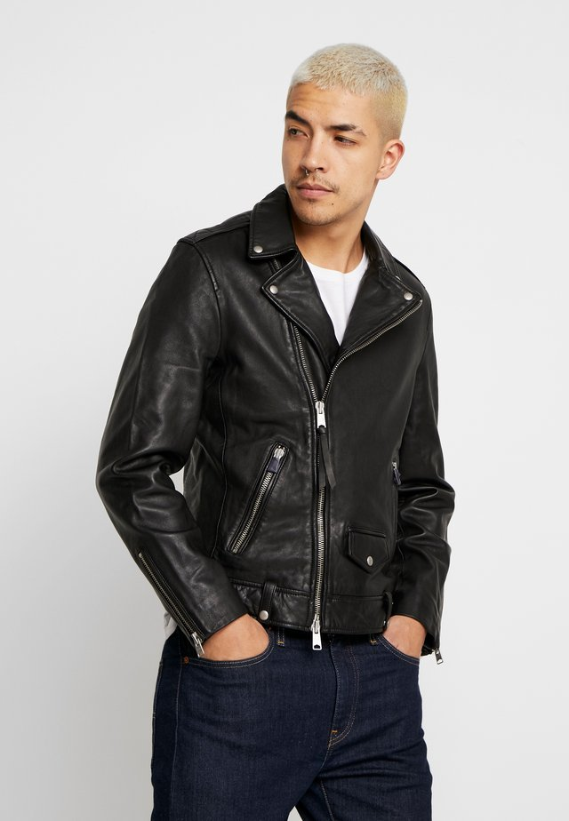 MILO BIKER - Leather jacket - black