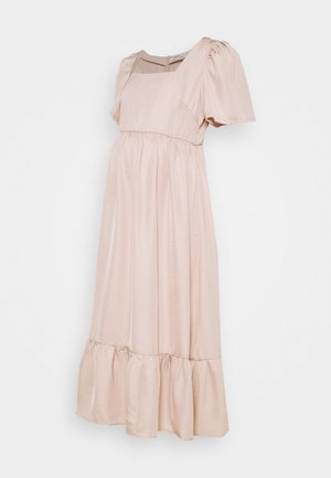 PEPLUM HEM MIDAXI DRESS WITH SHORT STATEMENT SLEEVES - Day dress - sandstone