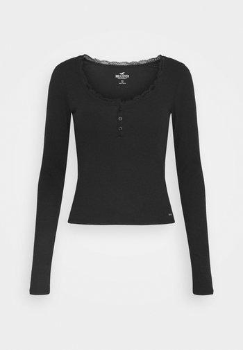 BUTTON THRU HENLEY - Long sleeved top - black