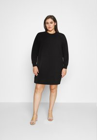 Noisy May Curve - NMLUPA KANGAROO DRESS - Denní šaty - black - 1