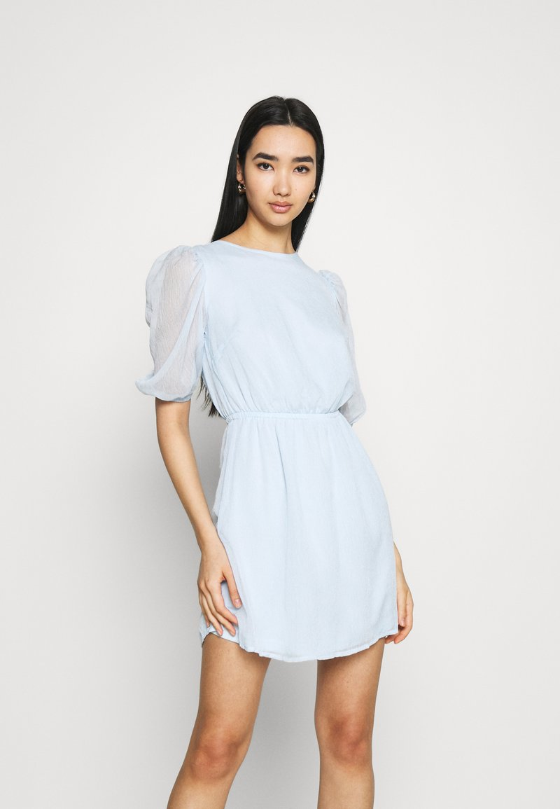 Missguided - PUFF SLEEVE SKATER DRESS - Day dress - baby blue