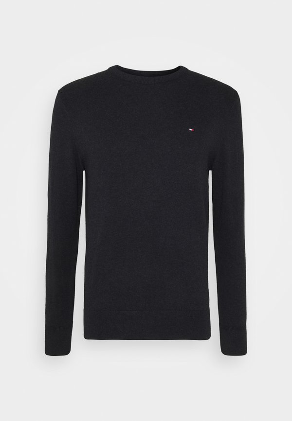 Tommy Hilfiger PIMA CREW NECK - Sweter - black/czarny melanż Odzież Męska WEER