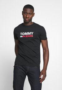 Tommy Jeans - CORP LOGO TEE - Print T-shirt - black - 0
