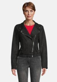 Amber & June - MIT GÜRTEL - Leather jacket - schwarz - 0