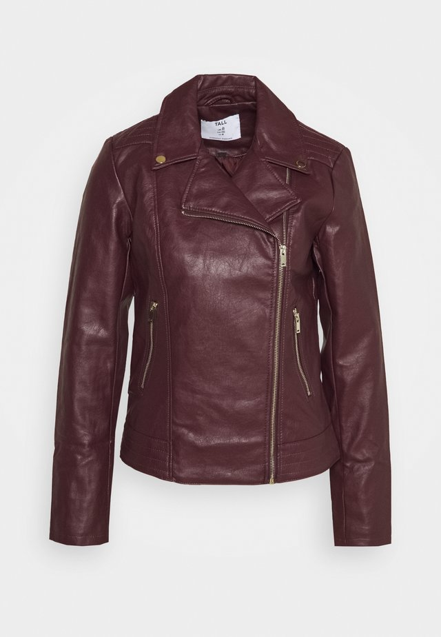 BIKER JACKET - Faux leather jacket - oxblood