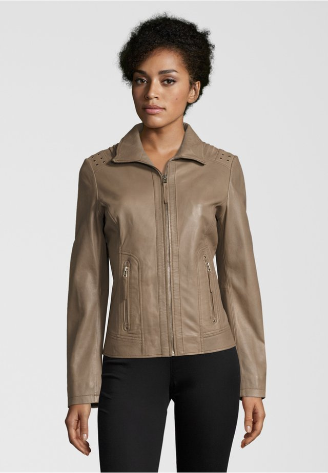 Leather jacket - taupe