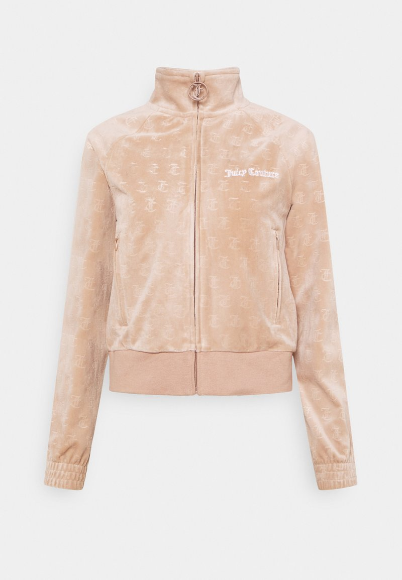 Juicy Couture - EMBOSSED TRACK - Zip-up sweatshirt - warm taupe