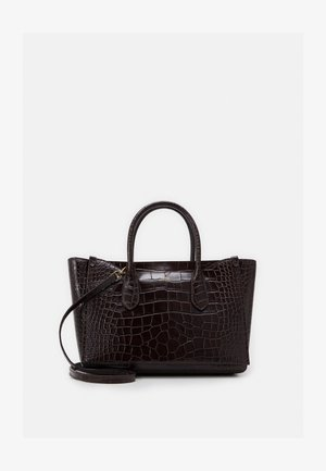 CROC EMBOSSED SLOANE - Tote bag - chocolate