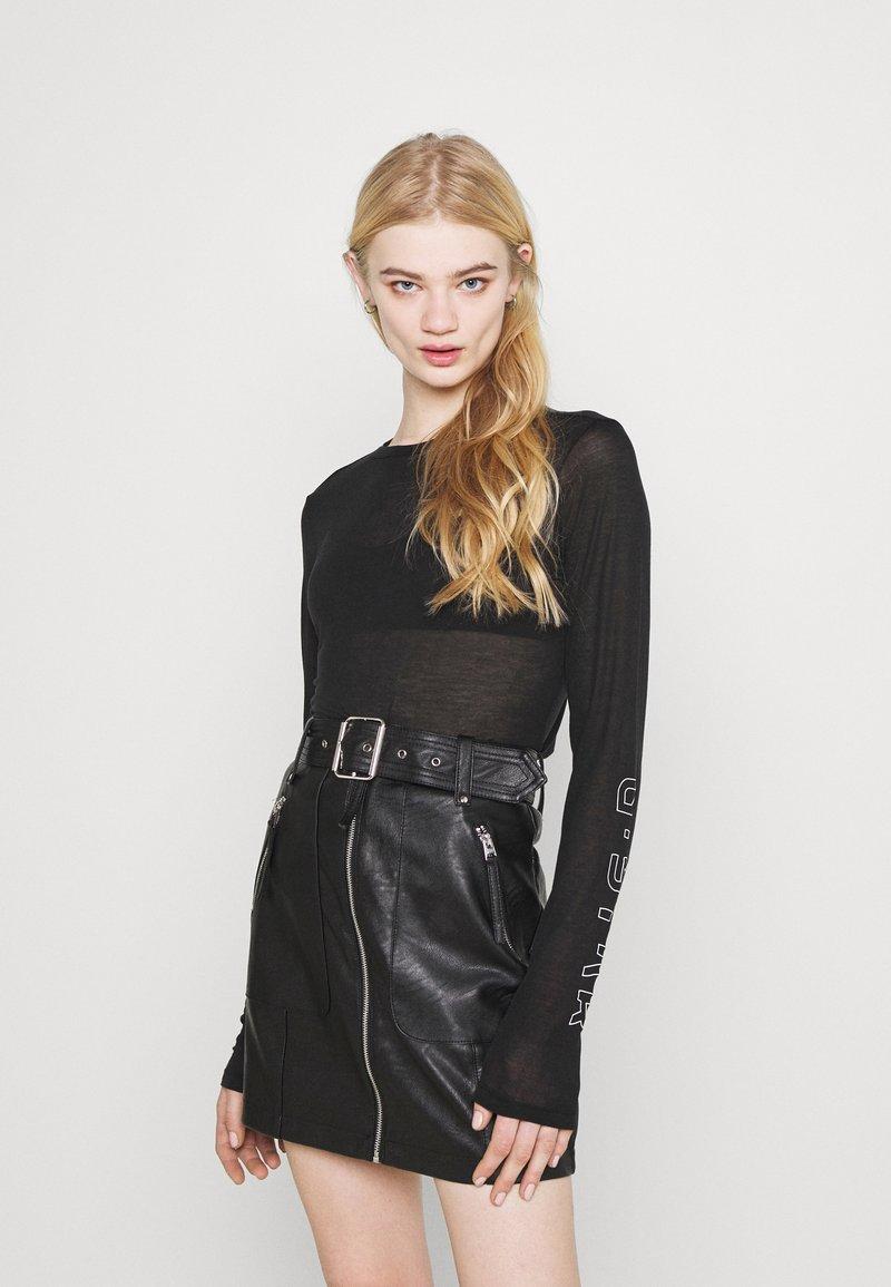 G-Star - SHEER GRAPHIC SLIM FIT - Long sleeved top - black