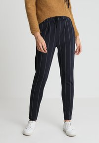 ONLY - ONLPOPTRASH TEMPO STRIPE PANT  - Trousers - night sky/white - 0