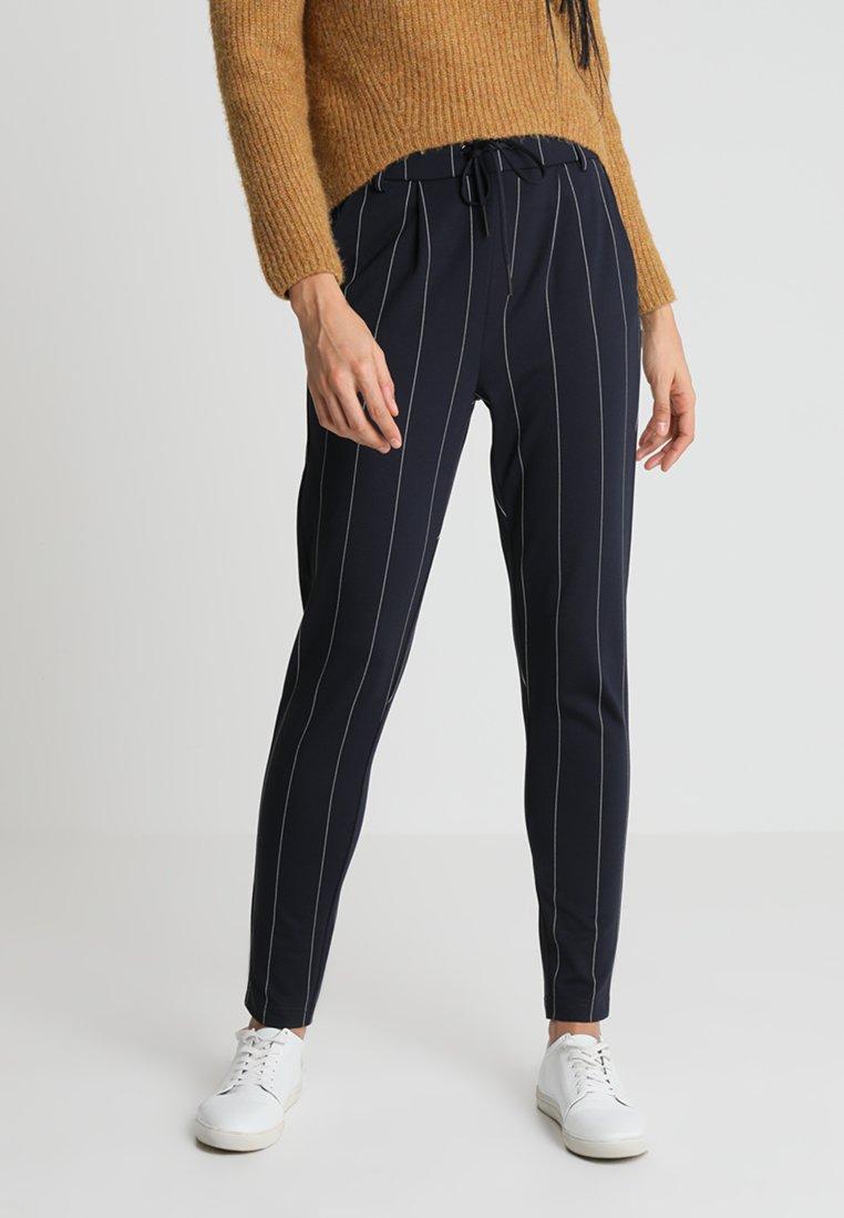 ONLY - ONLPOPTRASH TEMPO STRIPE PANT  - Trousers - night sky/white