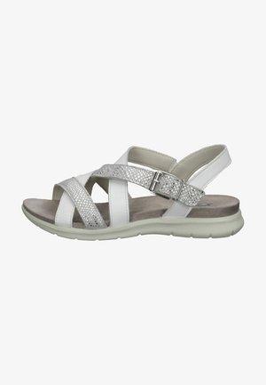 Sandalen met sleehak - weiss/grau