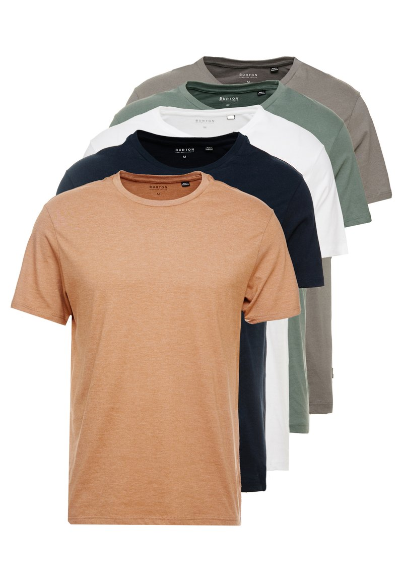 Burton Menswear London - BASIC CREW 5 PACK - Basic T-shirt - navy