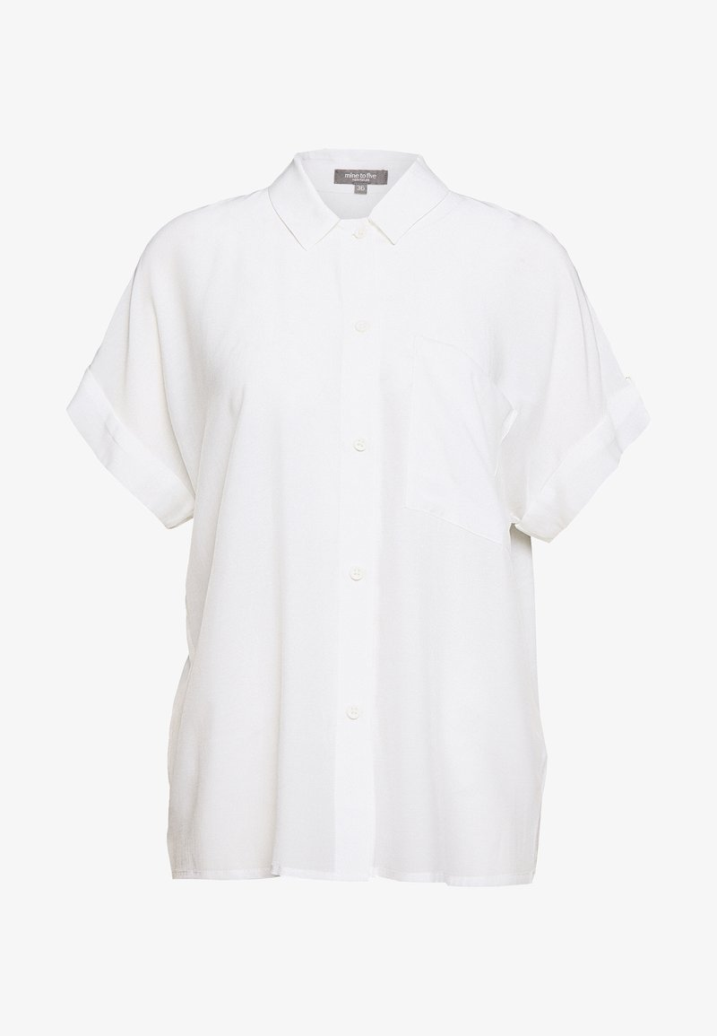 mine to five TOM TAILOR - BLOUSE LOOSE FIT - Button-down blouse - soft ecru