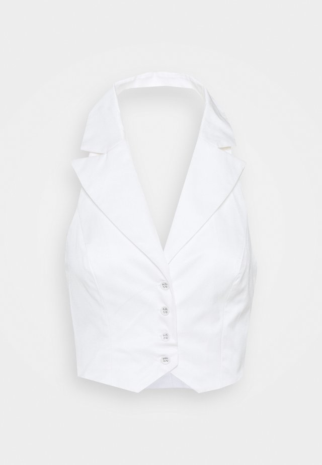 STUDIO COLLARED HALTER NECK WAISTCOAT WITH OPEN BACK - Blouse - off white