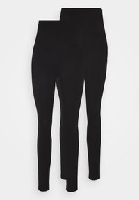 Even&Odd - 2 PACK HIGH WAISTED LEGGINGS - Leggings - Trousers - black - 0