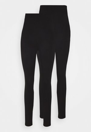 2 PACK HIGH WAISTED LEGGINGS - Legíny - black