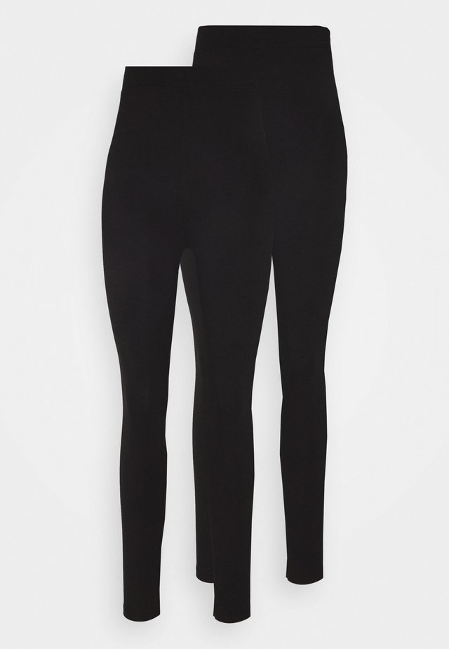 2 PACK HIGH WAISTED LEGGINGS - Leggings - Trousers - black