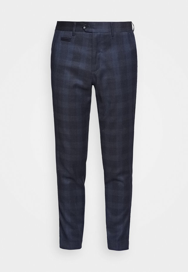 CHECKED PANTS - Trousers - navy