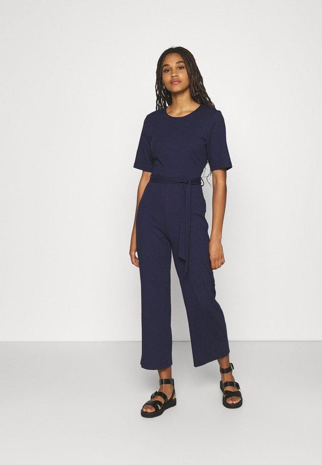 BASIC - Ribbed short sleeves belted jumpsuit - Tuta jumpsuit - dark blue