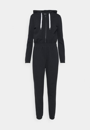 SWEAT HOODED ZIP THROUGH WAISTED JUMPSUIT - Jumpsuit - black/white