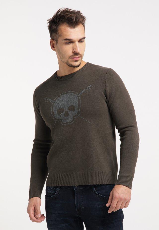 Sweter - militär oliv grau